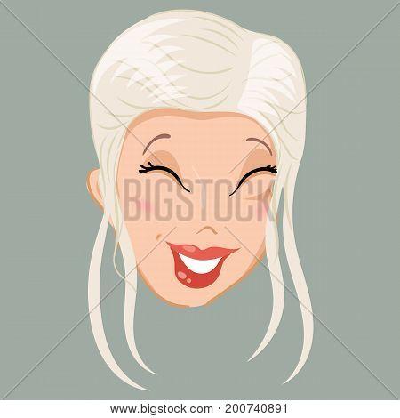 Emoticon. Blonde. Laugh