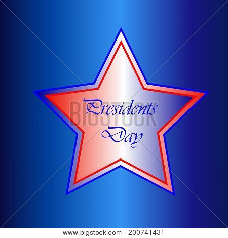 Presidents Day Star Over a Blue Background