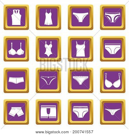 Underwear items icons set in purple color isolated vector illustration for web and any design