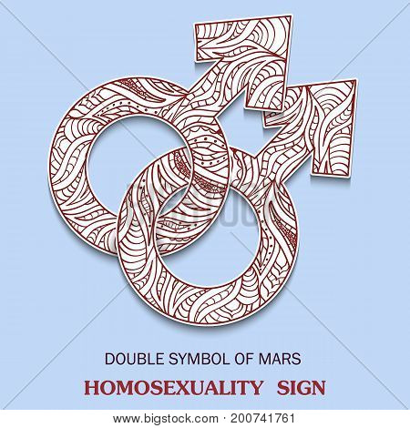 Symbol of Male homosexuality is Doubled male Sign with a pattern in tribal Indian style. Vector illustration