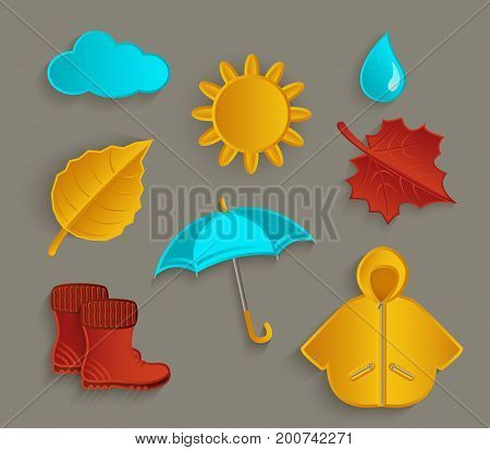 Set of cartoon fall autumn objects sun, cloud, rain drop, raincoat, umbrella, boots, leaves, flat vector illustration isolated on white background. Set of flat style cartoon fall, autumn objects