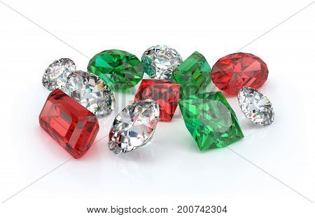 Many beautiful gems on a light background. 3d image. Light background.