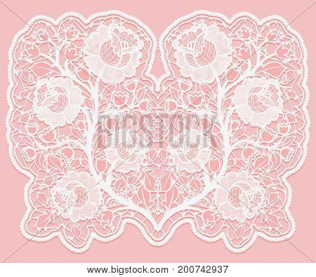 Lacy floral bouquet. White lace flowers and a grid on a pink background. Vector illustration.