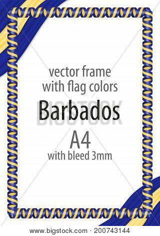 Frame And Border Of Ribbon With The Colors Of The Barbados Flag