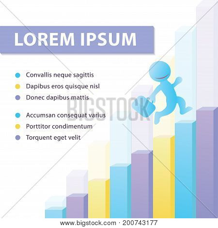 Vector Banner Template With A Man Climbing Up The Corporate Ladder, Graph Growth, Development And Su