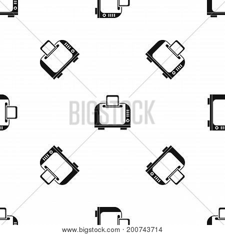 Toaster pattern repeat seamless in black color for any design. Vector geometric illustration