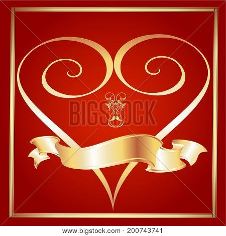 Swirled Heart with Golden Ribbon on a Maroon Background