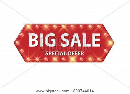 Billboard in retro style with bulbs for advertising design. Red vector banner with text Big Sale. EPS 10