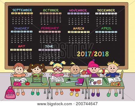illustration of calendar for school 2017/2018 with children
