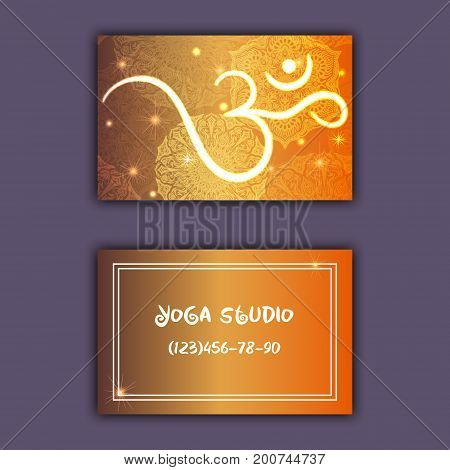 Business Card For Yoga Studio Or Yoga Instructor. Ethnic Background With Mandala Ornament And Ohm