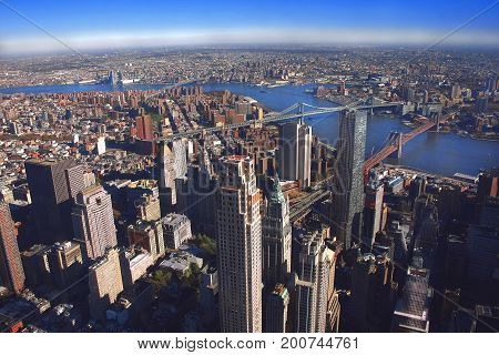 NYC - panoramic view of eastern Manhattan and Queens