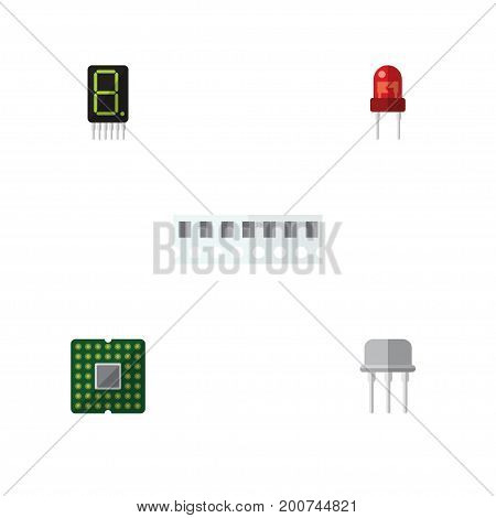 Flat Icon Electronics Set Of Memory, Resist, Calculate And Other Vector Objects