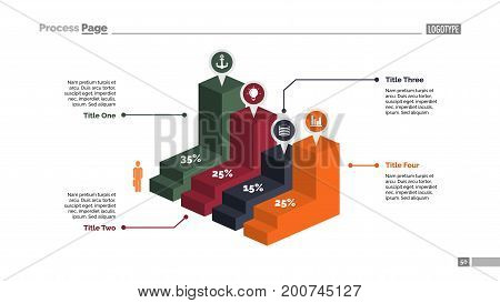 Four blocks bar chart. Business data. Percentage, diagram, design. Creative concept for infographic, templates, presentation, report. Can be used for topics like analysis, accounting, finance.