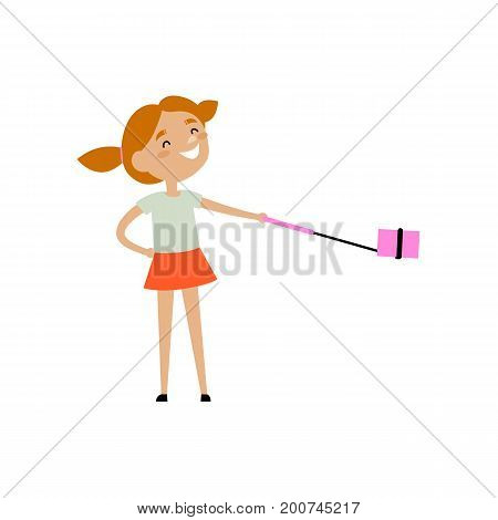 Teen girl with funny ponnytails making selfie with phone and monopod, flat style cartoon vector illustration isolated on white background. Pretty teen girl making selfie with her smarphone