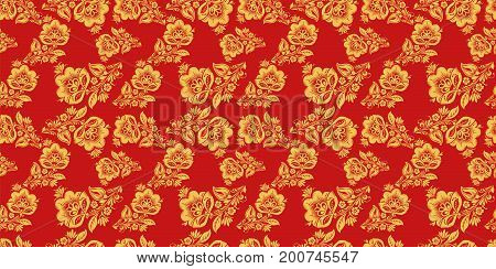 Russian national seamless pattern vector with floral decor elements. Classic khokhloma style decoration in red and gold colors