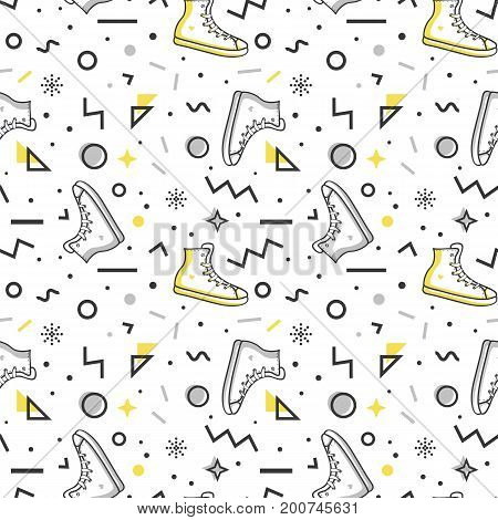 Stylish seamless pattern with sneakers and abstract geometric shapes in memphis style. Trendy vector background in white gray yellow and black colors.