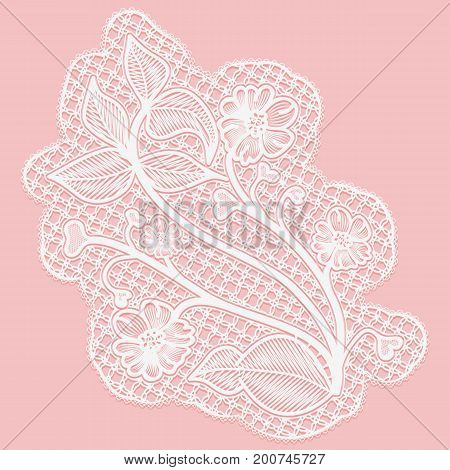 Lace flower. Single tracery element for design. Vector illustration.
