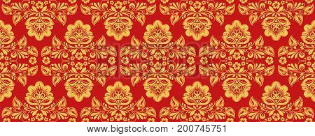Russian khokhloma style repeat pattern vector in traditional red and gold colors. Classic hohloma seamless ornament. Floral art style