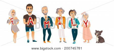 Grandparents, parents and kids holding boards with letters of word FAMILY, flat cartoon vector illustration on white background. Happy flat cartoon people holding letters of word Family