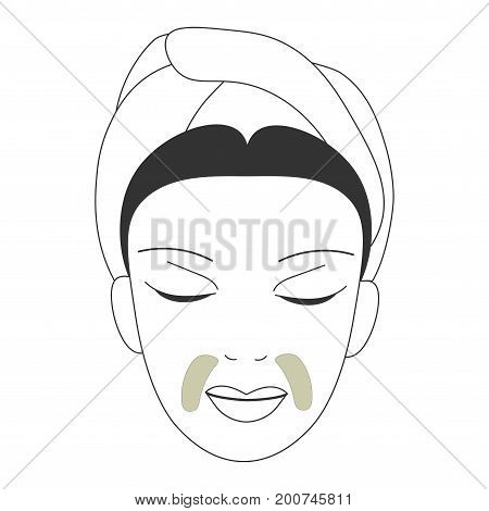 Vector icon illustration for anti-age face skin care promotion: woman face with anti-wrinkle patches masks for smile line on. Smile line wrinkle removers patches could be gel or sheet.