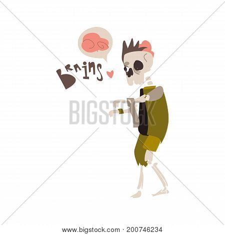 Scary, spooky zombie skeleton monster in rags searching for brains, Halloween object, cartoon vector illustration isolated on white background. Monster, zombie, skeleton walking dead