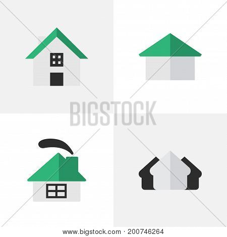 Elements Home, Property, Dwelling And Other Synonyms Real, Home And House.  Vector Illustration Set Of Simple Real Icons.
