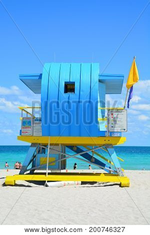 MIAMI BEACH USA - MARCH 18 2017 : The blue lifeguard tower in South Beach Miami Beach