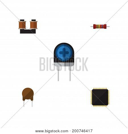 Flat Icon Appliance Set Of Coil Copper, Triode, Cpu And Other Vector Objects