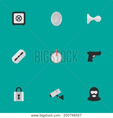 Elements Hunting, Safe, Closed And Other Synonyms Razor, Fingerprint And Burglar.  Vector Illustration Set Of Simple Offense Icons.