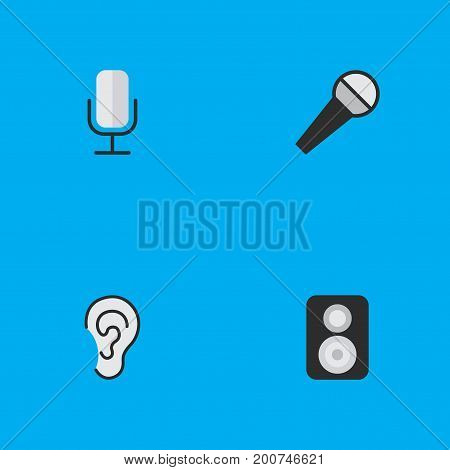 Elements Speaker, Mike, Listen And Other Synonyms Loudspeaker, Speaker And Microphone.  Vector Illustration Set Of Simple Sound Icons.