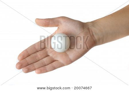 ping-pong ball on a hand