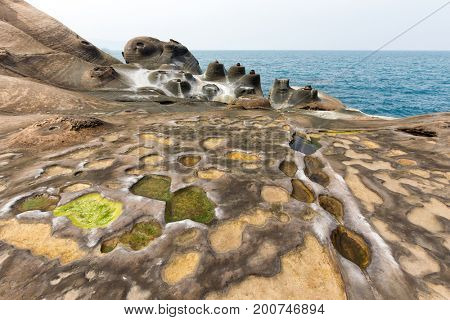 Amazing geologic natural sandstone formation at the Yehliu geopark, Taiwan