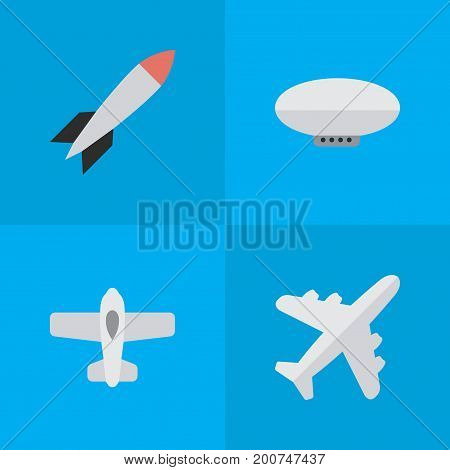 Elements Balloons, Plane, Aircraft And Other Synonyms Airship, Airplane And Craft.  Vector Illustration Set Of Simple Aircraft Icons.
