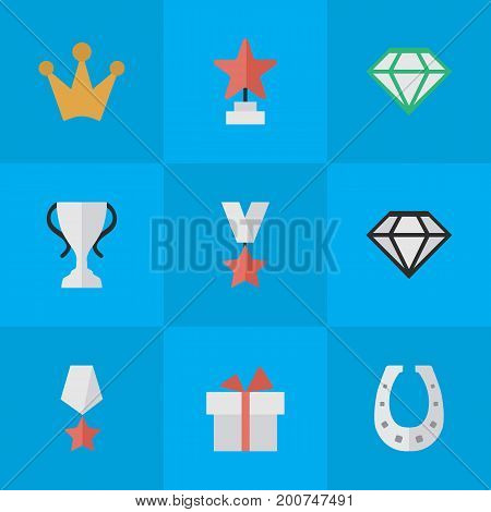Elements Champion, Gemstone, Metal And Other Synonyms Chalice, First And Award.  Vector Illustration Set Of Simple Champion Icons.