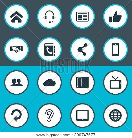 Elements Palmtop, Connection, Handshake Synonyms Phone, Device And Like.  Vector Illustration Set Of Simple Network Icons.