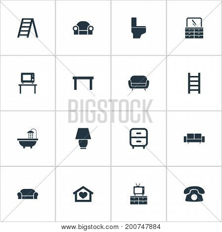 Elements Divan, Flat-Screen, Table And Other Synonyms Lounge, Cushion And Illuminator.  Vector Illustration Set Of Simple Furniture Icons.