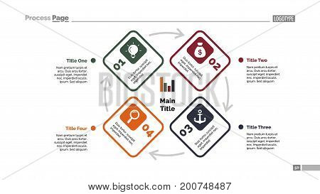 Four elements process chart slide template. Business data. Cycle, diagram, design. Creative concept for infographic, presentation. Can be used for topics like management, planning, training.