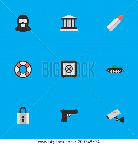 Elements Closed, Grille, Lifesaver And Other Synonyms Security, Armored And Shot.  Vector Illustration Set Of Simple Crime Icons.