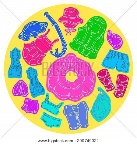 Set with swimming goods for kids. Vector color illustration in circle. Vest mask tube swimsuit cap panama fins swimming trunks. Summer children's holiday