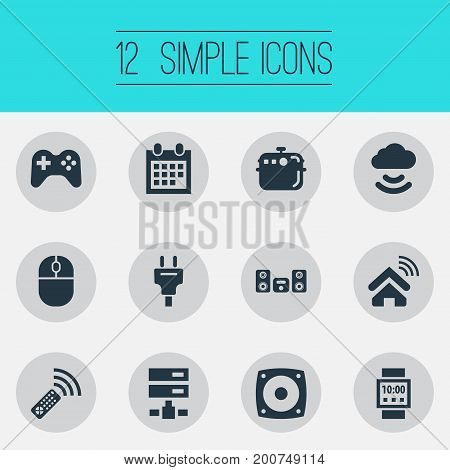 Elements Multimedia Center, Socket, Storage Acceess And Other Synonyms Multimedia, Calendar And Oven.  Vector Illustration Set Of Simple Internet Icons.