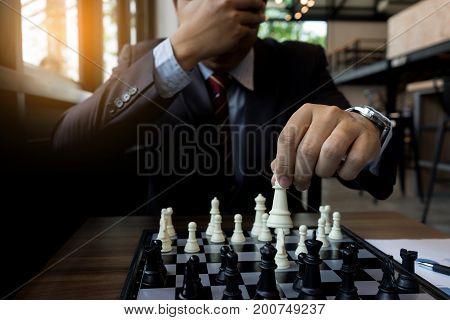 Businessman No Thinking Close His Eye Blind  Play Chess
