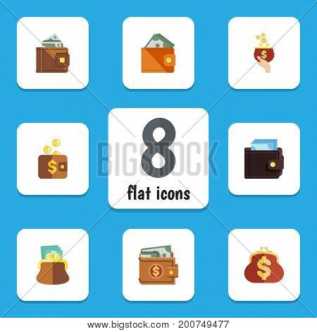 Flat Icon Purse Set Of Payment, Billfold, Pouch And Other Vector Objects