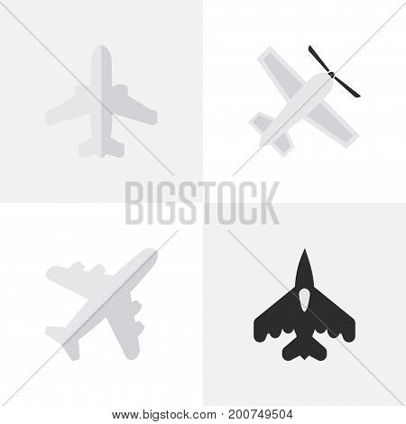 Elements Airliner, Craft, Flying Vehicle And Other Synonyms Aircraft, Flying And Airplane.  Vector Illustration Set Of Simple Plane Icons.