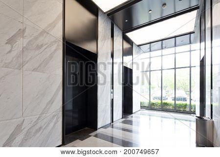 interior of modern corridor in modern office building