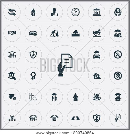 Elements Tornado, No Blaze, Team And Other Synonyms Fire, Money And Care.  Vector Illustration Set Of Simple Insurance Icons.
