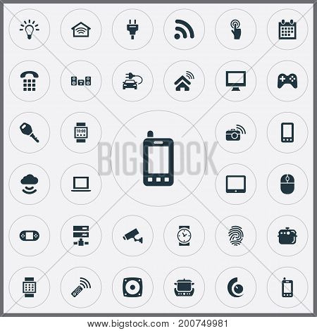 Elements Game Controller, Surveillance, Date Block And Other Synonyms Things, Identification And Internet.  Vector Illustration Set Of Simple Internet Icons.