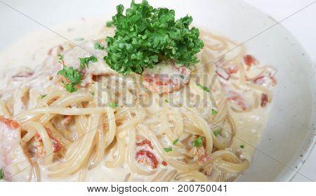 carbonara spaghetti dish, pasta dish or spaghetti