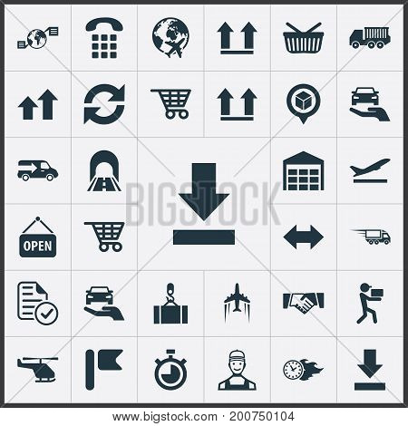 Elements Protect Car, Shopping Trolley, Top And Other Synonyms Warehouse, Car And Top.  Vector Illustration Set Of Simple Engineering Icons.
