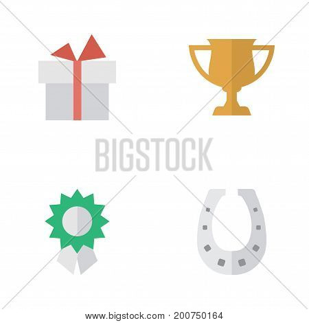 Elements Metal, Reward, Present And Other Synonyms Horseshoe, Surprise And Cub.  Vector Illustration Set Of Simple Reward Icons.