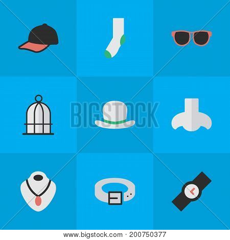 Elements Jewelry, Sport Hat, Strap And Other Synonyms Necklace, Jewelry And Hat.  Vector Illustration Set Of Simple Equipment Icons.